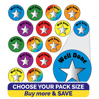Metallic Star Stickers - Well Done (10mm)