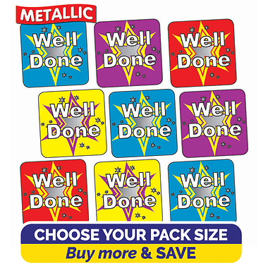 Metallic Well Done Stickers (16mm)