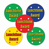 Sheet of 70 Mixed Lunchtime Award 25mm Stickers