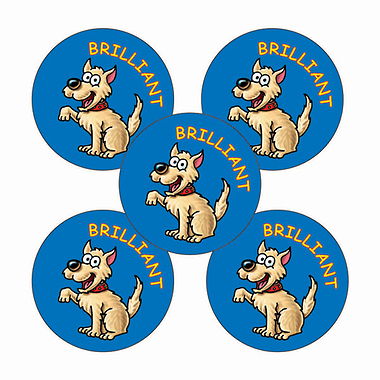 Sheet of 70 Brilliant Dog 25mm Stickers