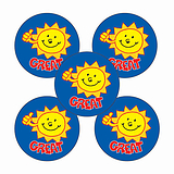 Sheet of 70 Great Sun 25mm Stickers