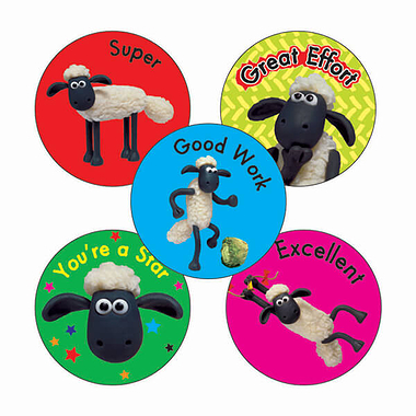 Shaun the Sheep Stickers (70 Stickers - 25mm)