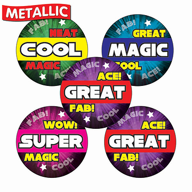 Sheet of 70 Mixed Words Metallic 25mm Stickers