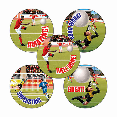 Sheet of 70 Mixed Football 25mm Stickers