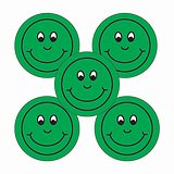 Sheet of 70 Green Smiley Face 25mm Stickers