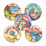 Sheet of 70 Mixed Reading Dinosaur Scene 25mm Stickers