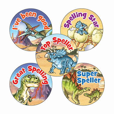 Sheet of 70 Mixed Spelling Dinosaur Scene 25mm Stickers