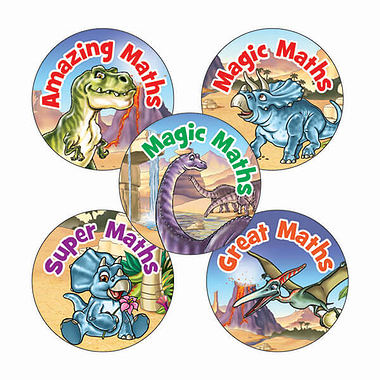 Sheet of 70 Mixed Maths Dinosaur Scene 25mm Stickers