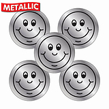 Sheet of 70 Silver Smile 25mm Stickers