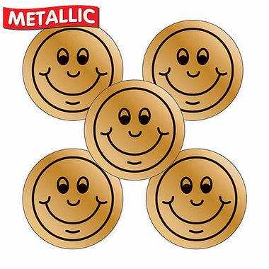 Sheet of 70 Bronze Smile 25mm Stickers
