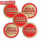 Sheet of 70 Mixed Gold Award 25mm Stickers