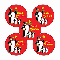 Sheet of 70 Good Manners Penguins 25mm Stickers