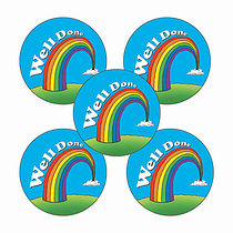 Sheet of 70 Well Done Rainbow 25mm Stickers