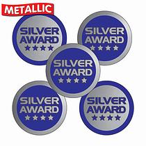 Metallic Silver Award Stickers (70 Stickers - 25mm)
