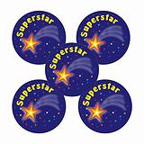 Sheet of 70 Superstar 25mm Stickers