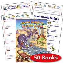 Box of 50 Dinosaur Themed 88 Page A5 Home School Record Book