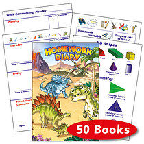 Box of 50 Dinosaur 104 Page A5 Homework Diaries