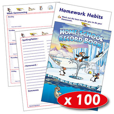 Box of 100 Polar Themed 88 Page A5 Home School Record Books