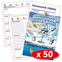 Box of 50 Polar Themed 88 Page A5 Home School Record Books