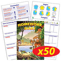Box of 50 Jungle Themed 104 Page A5 Homework Diaries