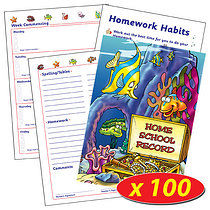 Box of 100 Underwater Themed Home School Record Books