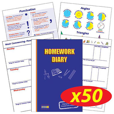 Box of 50 Blue Cover 104 Page A5 Homework Diaries