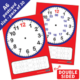 A6 Dry Wipe Clock Classroom Cards Pack of 30
