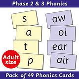 Phase 2 & 3 Phonics Cards Adult Size