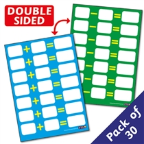 Dry Wipe Addition & Subtraction Sum Pupil CARDS (A6) x 30 Class Pack
