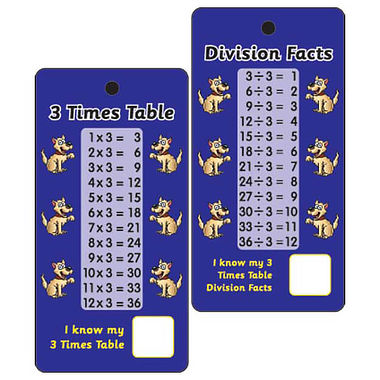 3 Times Tables & Division Facts - Pack of 10 Pocket Prompts