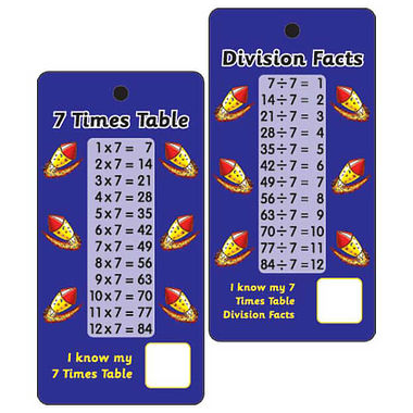 7 Times Tables & Division Facts - Pack of 10 Pocket Prompts