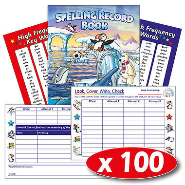 Box of 100 Polar Themed 56 Page Spelling Record Book