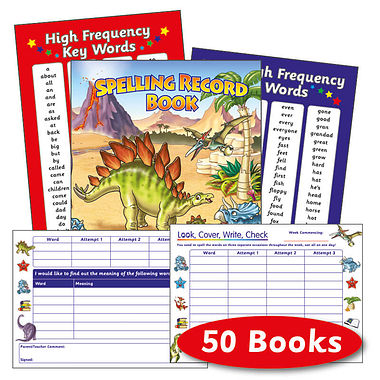 Spelling Record Books - Dinosaurs (50 Books Included)