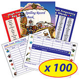 Box of 100 Pirate Themed 56 Page Spelling Record Books