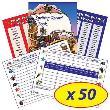 Box of 50 Pirate Themed 56 Page Spelling Record Books