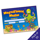 Pack of 20 Magnificent Maths Octopus Certificates