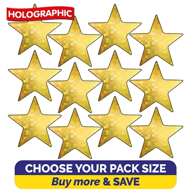 Holographic Gold Star Stickers (20mm) Brainwaves
