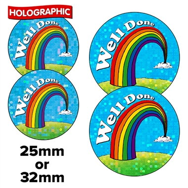Holographic Well Done Stickers - Rainbow