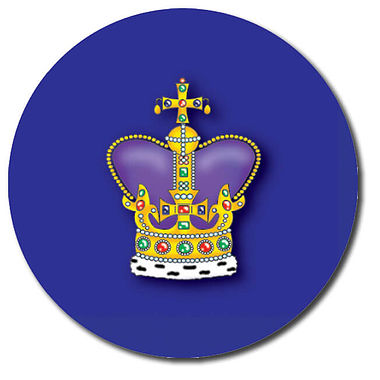 Personalised Crown Stickers - Blue (35 per sheet - 37mm)
