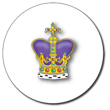 Personalised Crown Stickers - White (35 per sheet - 37mm)