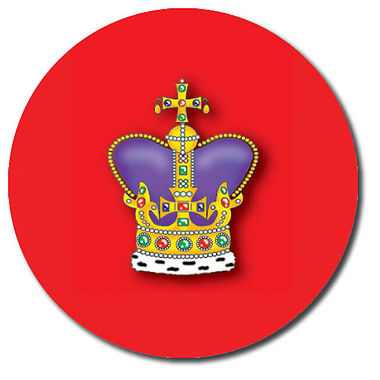 Personalised Crown Stickers - Red (35 per sheet - 37mm)