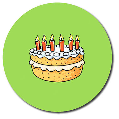 Personalised Birthday Cake Stickers (35 per sheet - 37mm)