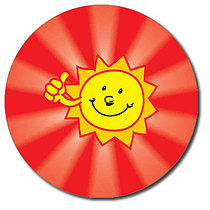 Sheet of 35 Personalised 37mm Shiny Sun Stickers