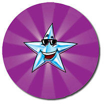 Sheet of 35 Personalised 37mm Purple Star Stickers