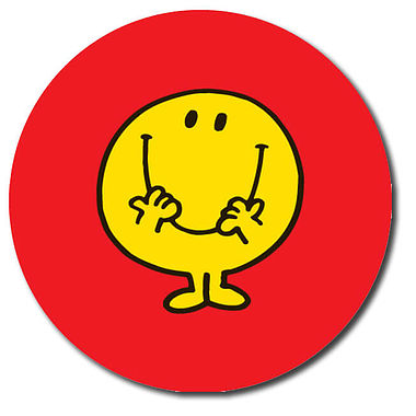 Personalised Mr Men Stickers - Mr Happy Red (35 per sheet - 37mm)