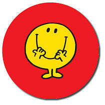 35 Personalised 37mm Stickers Mr Happy Red Background