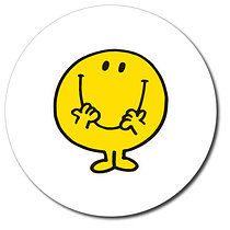 37mm Mr Happy Personalised Stickers Sheet of 35 White Background