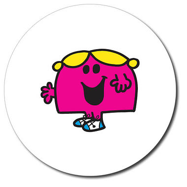 Personalised Little Miss Chatterbox Stickers (35 per sheeet - 37mm)