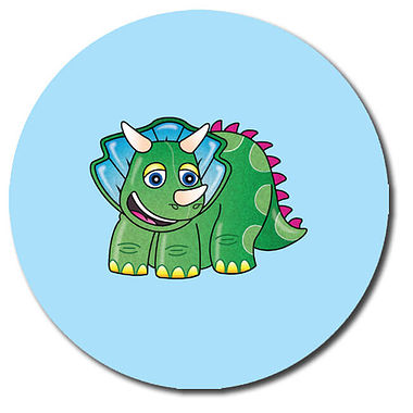 Personalised Dinosaur Stickers - Triceratops (35 per sheet - 37mm)