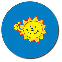Sheet of 35 Personalised 37mm Sun Stickers